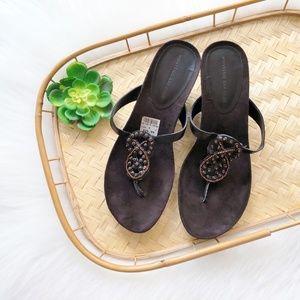 Beaded Brown Wedge Thong Sandals